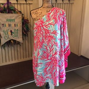 Lilly Pulitzer Silk Coral One Shoulder Dress
